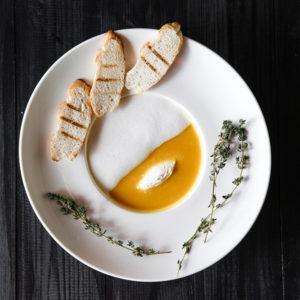 Суп-капучино из тыквы c сыром «буко»