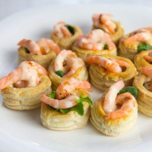 Тарталетки с креветкой и зеленью 2шт (заказ от трех порций )