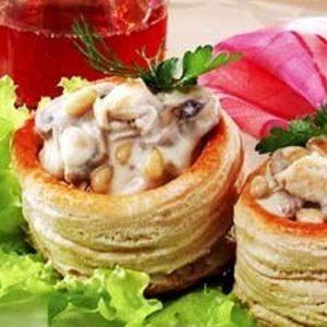 Тарталетки с нежным рагу из куриного филе 2 шт (заказ от трех порций )